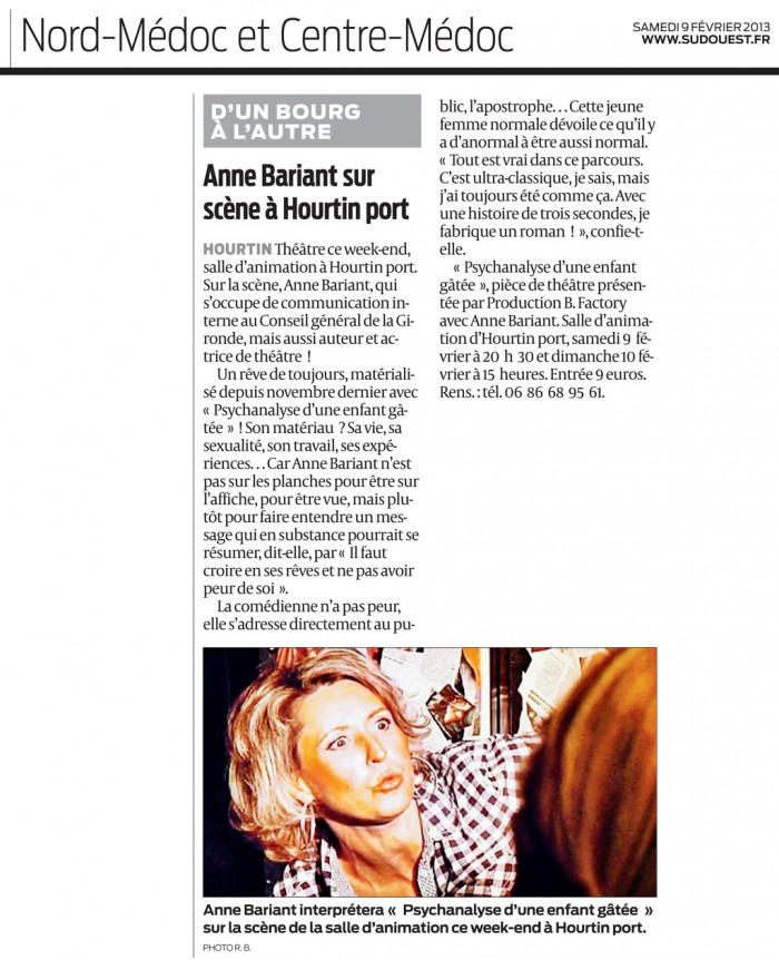 Article dans Sud Ouest du 9 février 2013